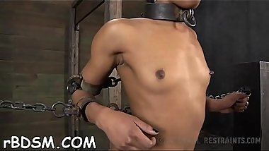 Tied up beauty waits with fear for her next sexy castigation