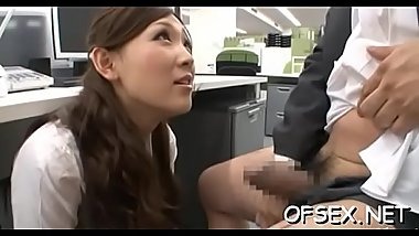 Office floozy with short skirt gets what that babe was asking for