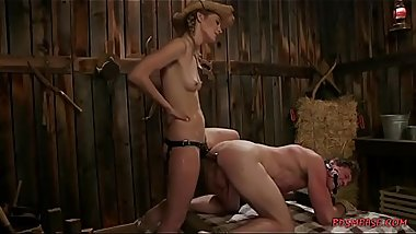 Stunning mistress straponfucks a guy