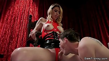 Male slave worships trannys stockings