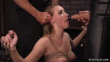 Blonde babe gets bondage slave training
