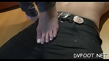 Sexy hottie gets her foot sucked by a dude with a foot fetisj