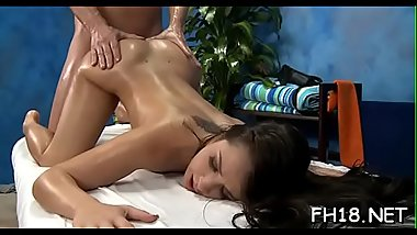 Babe with a perfect ass fucked by masseur