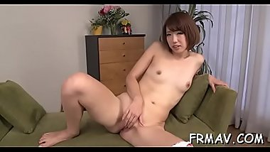 Cute japanese merely gives superb blowjob during threesome