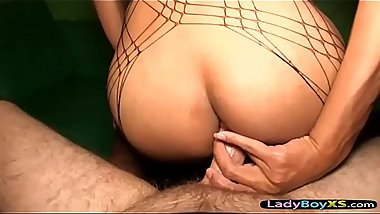Teen ladyboy with spikey haird gets fucked