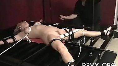 Ditry bitch gets completely bounded and titillated by a toy
