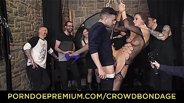 CROWD BONDAGE - Extreme BDSM fuck &amp_ bondage wheel with Tina Kay