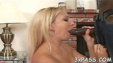 Chocolate boy gets deep throat blow from nasty  white whore