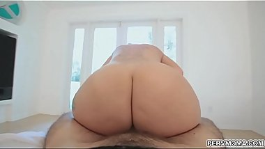 Stepmom strips to get cock in her tits