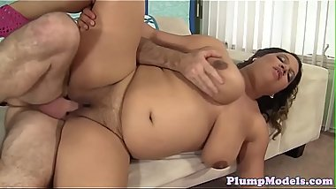 Busty plumper banged in many different poses