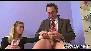 Diminutive darling is submitting to older teacher'_s demands