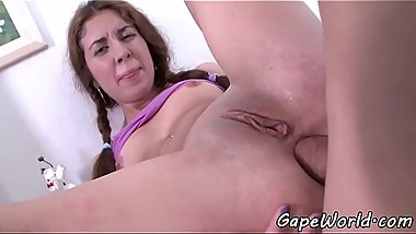 Teen beauty doggystyled on all fours