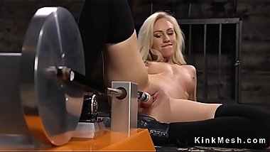 Blonde beauty in stockings masturbates