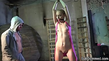 Young european sub groped while ballgagged