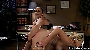 Lesbian boss spanks and toys bent blonde