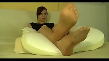 Polish Mistress offers you sweaty feet in tan pantyhose (POV) - find more feet videos on SweeyNylonFeet.com