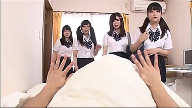 8 Japanese students wake up guy for reverse gangbang JAV MV