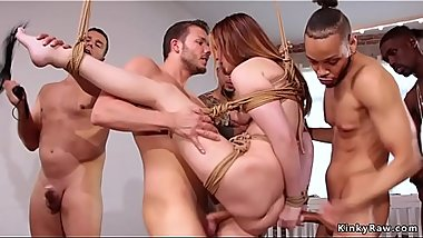 Tied up redhead fuck white and black cocks