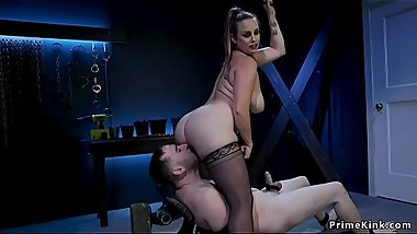 Big tits mistress fucks her male slave