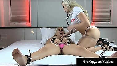 Nurse Cristi Ann Licks &amp_ Monitors Bound Nina Kayy In Bed!