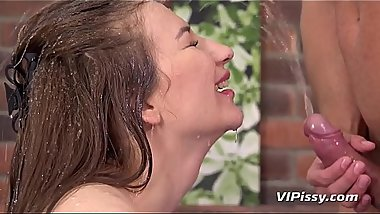 Piss In Mouth - Face fucked brunette drinks piss