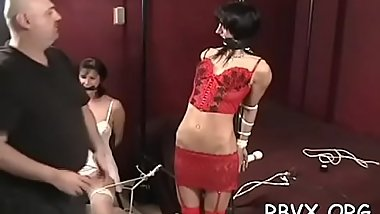 Shy hotty gets fastened up and manhandled in bondage scene