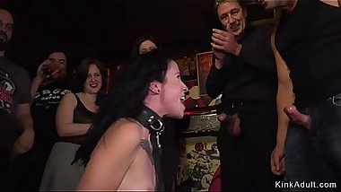 Slave in red dress fucked in bar