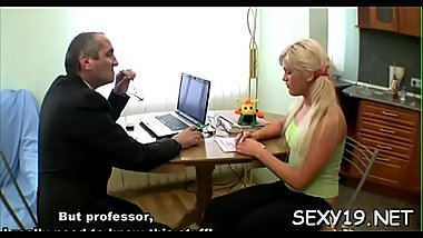 Playgirl is getting hardcore doggy position drilling from teacher
