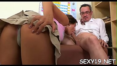 Sweet darling is delighting old teacher with blowjob engulfing