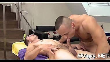Handsome hunk is giving sexy gay a unfathomable anal pounding