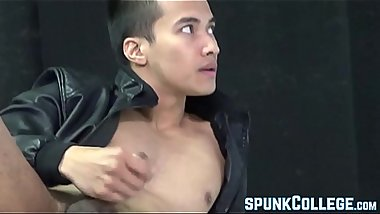Feminine Asian jock Ken Ott toying his rock hard dick