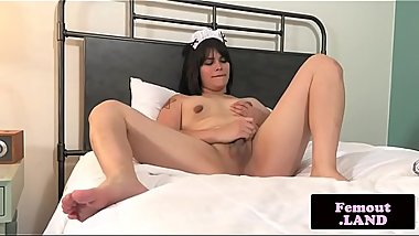 Femboy maid stroking hard dick