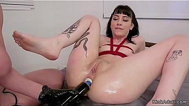 Tied up prisoner deep anal fucked with toy