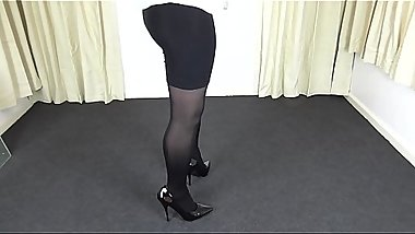 Shemale in black pantyhose &_ tight skirt