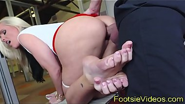 Busty cuties feet jizzy