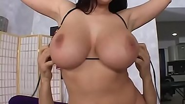 Big breasted deep throat brunette Gianna Michaels chokes on cock and rides a big dick after her tits was fucked