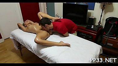 Cute darling gets her vagina ravished after carnal massage