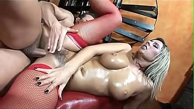 Sexy ass honey Daria Glower in red stockings on couch fucking long dick
