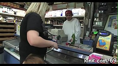 Busty barmaid fastened and double permeated by the debt collectors!