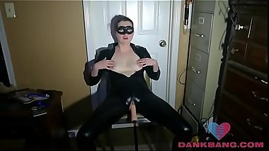 Milf in latex suit gets fucked by a fuck mashine