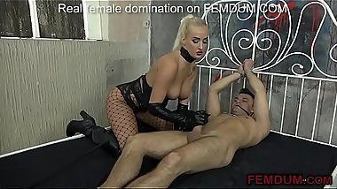 White male gets tied to the bed, whipped and dominated.