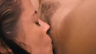 Hot babes in bed sucking each others pussy and fucking hunks hard dong