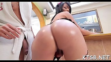 Sensuous shemale bitch gets her backdoor gangbanged hardcore